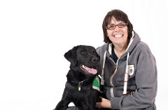 Jacqui with assistance dog Duke