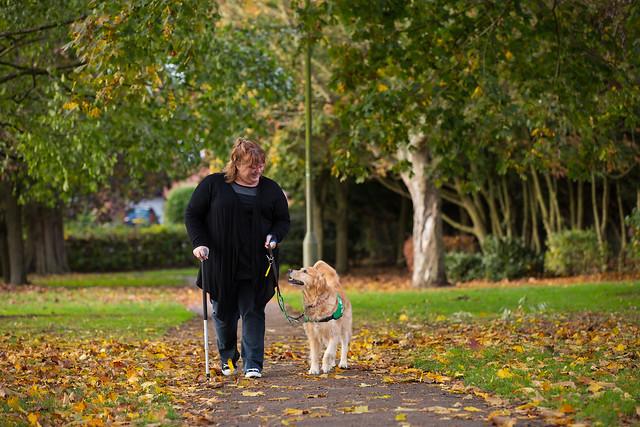 Vicky and dog Tula walking