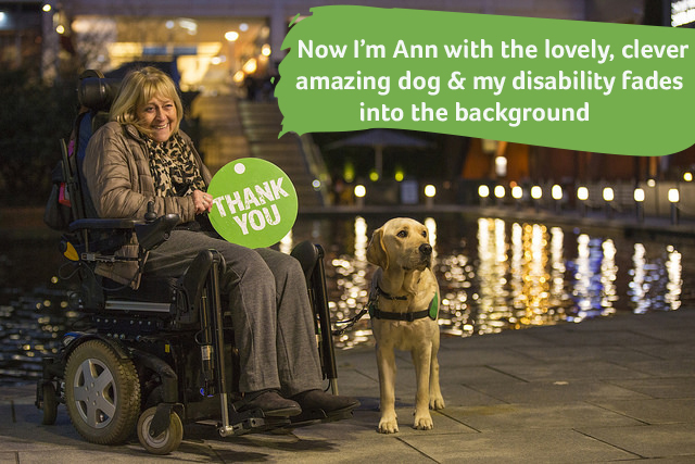 Ann in wheelchair with assistance dog Twickers next to her
