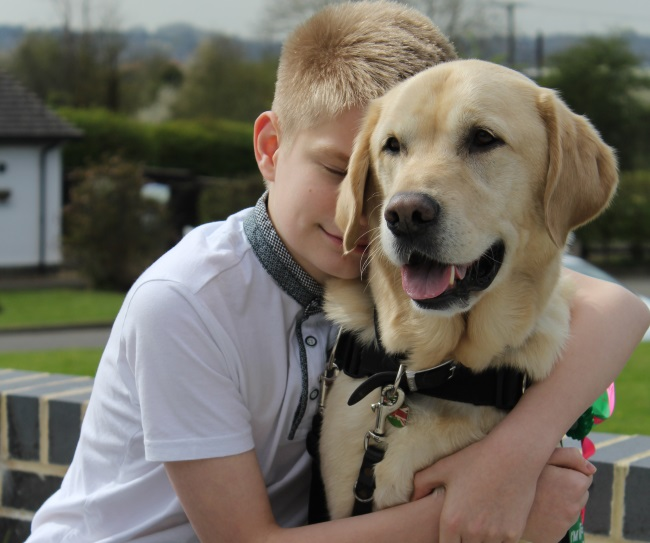 Joel and autism assistance dog Caddie