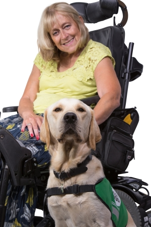 Ann and assistance dog Twickers