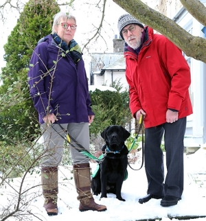 Malcolm, Imke and dementia assistance dog webb