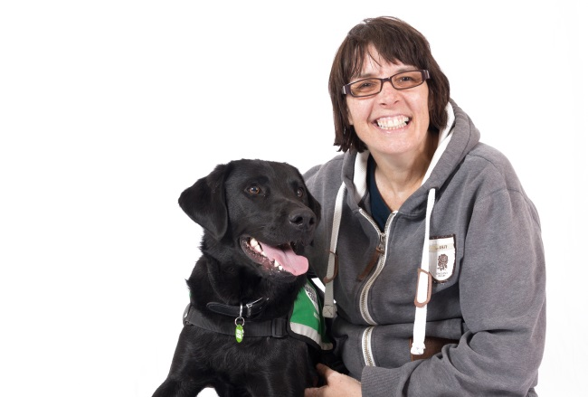 Jacqui and assistance dog Duke
